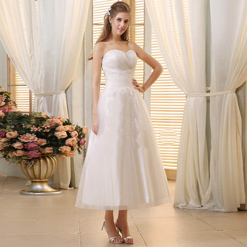 Ankle Length Wedding Dresses 2016 Zipper White/Ivory