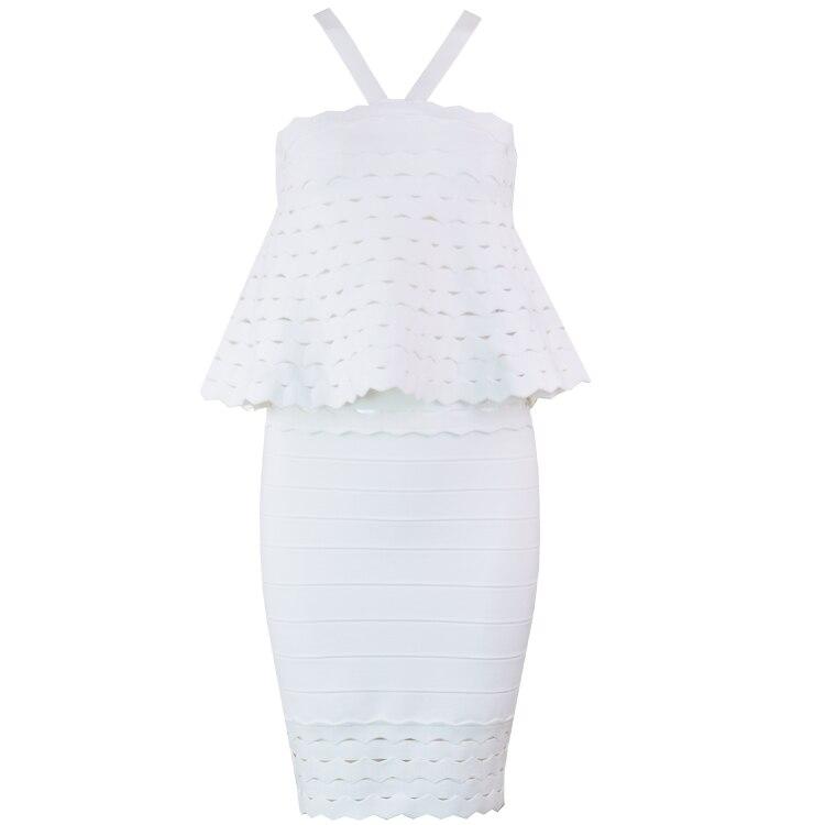 Élégante Halter Ruffles blanc Bandage Noir 2018 Robe Qualité Designer Top Noir Celebrity Party Femmes Sexy vSqwBnxUC