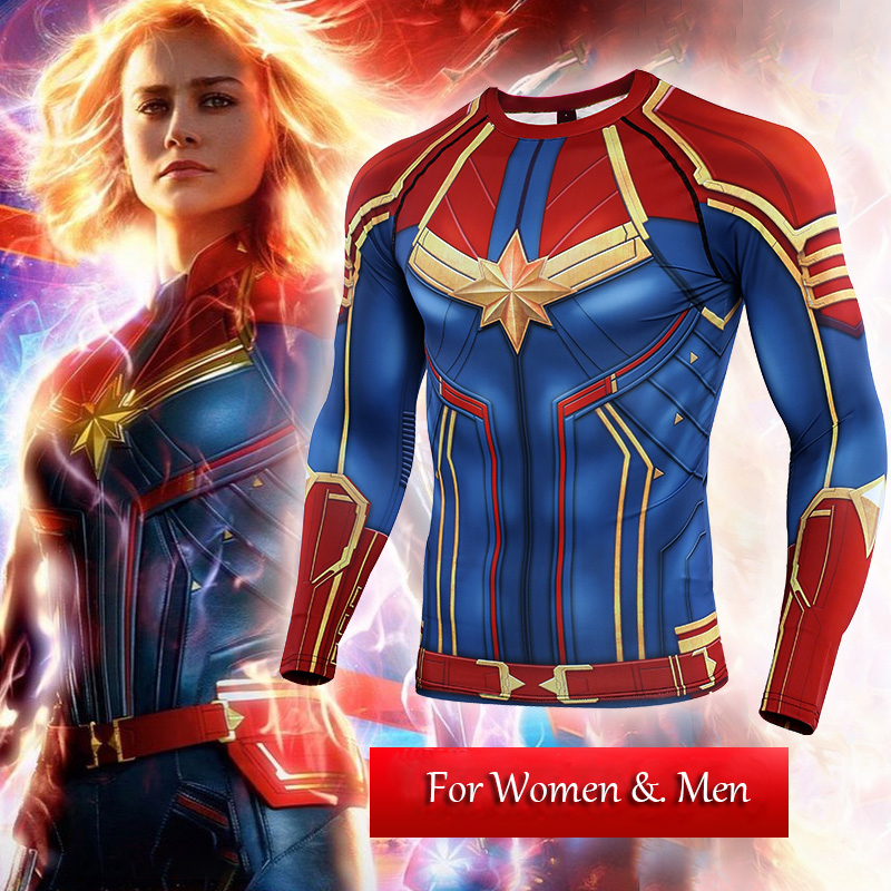 3D Captain Marvel T-shirt Cosplay Captain Marvel Carol Danvers Costumes Women Men Superhero Sport Tight Tees Tops Gyms Clothing
