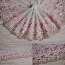 "5 meter 21cm 8.26"" wide pink brown tulle gauze mesh embroidered tapes lace trim ribbon clothes dress doll fabric S5Q64HB18022714(China)"