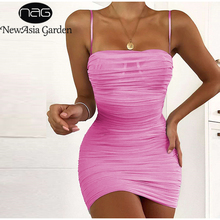 NewAsia Double Layers Mesh Party Dress Summer 2019 Women Elegant Spaghetti Straps Ruched Club Mini Tight Sexy Pink