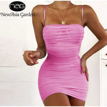 NewAsia Double Layers Mesh Party Dress Summer 2019 Women Elegant Spaghetti Straps Ruched Club Dress Mini Tight Sexy Dress Pink - DISCOUNT ITEM  45% OFF All Category