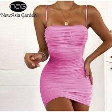 Newasia camadas duplas malha vestido de festa verão 2019 feminino elegante cintas de espaguete ruched clube vestido mini apertado vestido sexy rosa