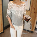 Plus Size S-5XL 2015 Nova Verão Mulheres Doce Oco Rendas fora Xale T-shirt Crochet Cabo Collar Batwing Sleeve Tops 3 cores
