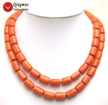 Женское Ожерелье чокер из натурального оранжевого коралла 10