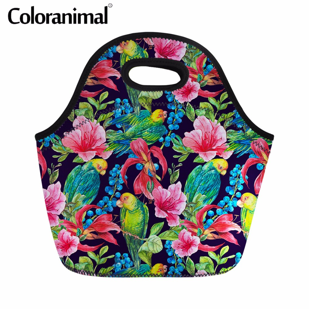 Coloranimal Casual Thermal Neoprene Handbags Lunch Case for Women Child Vintage Floral Parrot Lace Feather Print Tote Lunch Bags