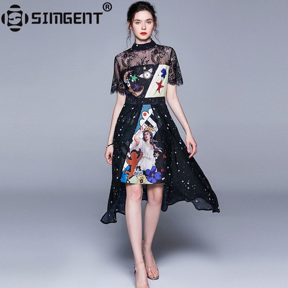 fd697d1a7 Simgent camisa vestido de mujer de moda de verano de tres cuartos de la  manga una línea blusa Falda ...