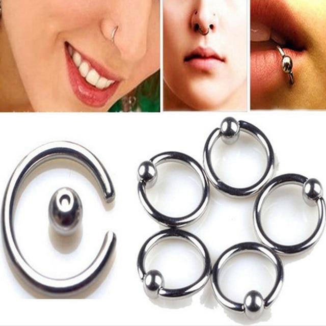 Us 144 24 Off6 Stkspartij Rvs Scharnierende Clicker Removeable Nose Ring Hoop Lip Piercing Oor Bone Ring Lichaam Sieraden Tepel Piercing Gift In