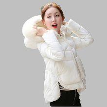 2016 Новый Осень Зима Женщин С Капюшоном Меховой воротник Хлопок пуховик Пальто Небольшой Пункт Утолщаются Хлопка-ватник Пальто G1484