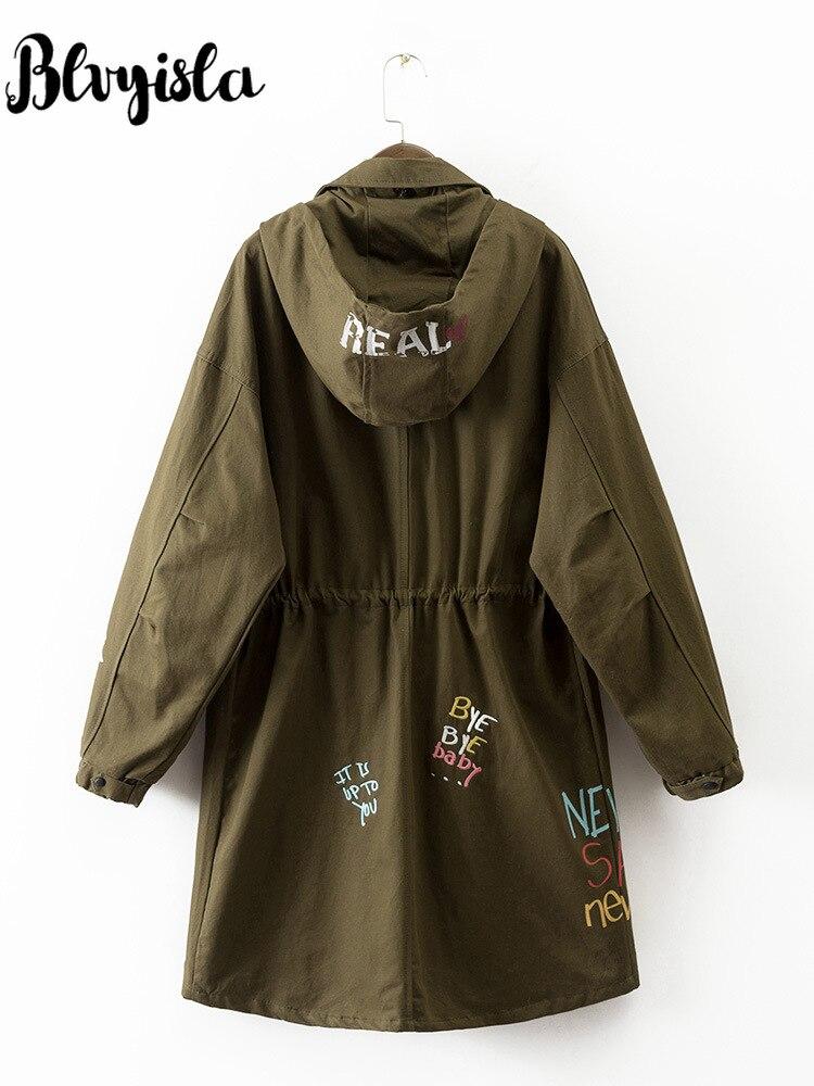 Blvyisla Tranchée Mode Hoodies Tendance Armée Mince Vert Coupe Manteaux Outwear vent Vintage Printemps Femmes ZTtrZwqz