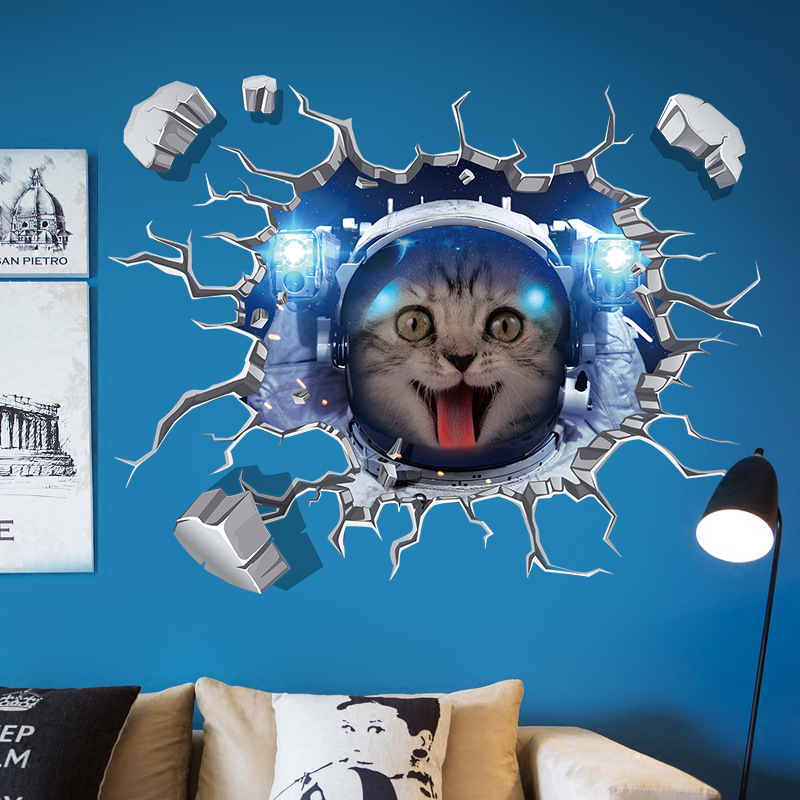 detail feedback questions about space cats 3d wall stickers fashion