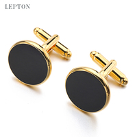 High Quality Black Enamel Round Cufflinks Studs Sets Gold Color Plated  Luxury Mens Jewelry For Business 7ad40dcf1bc3