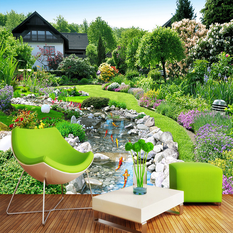 Countryside Scenery Custom Mural Photo Wallpaper Back Garden Landscape Background Mural Painting Bedroom Sound-proof Wall Paper