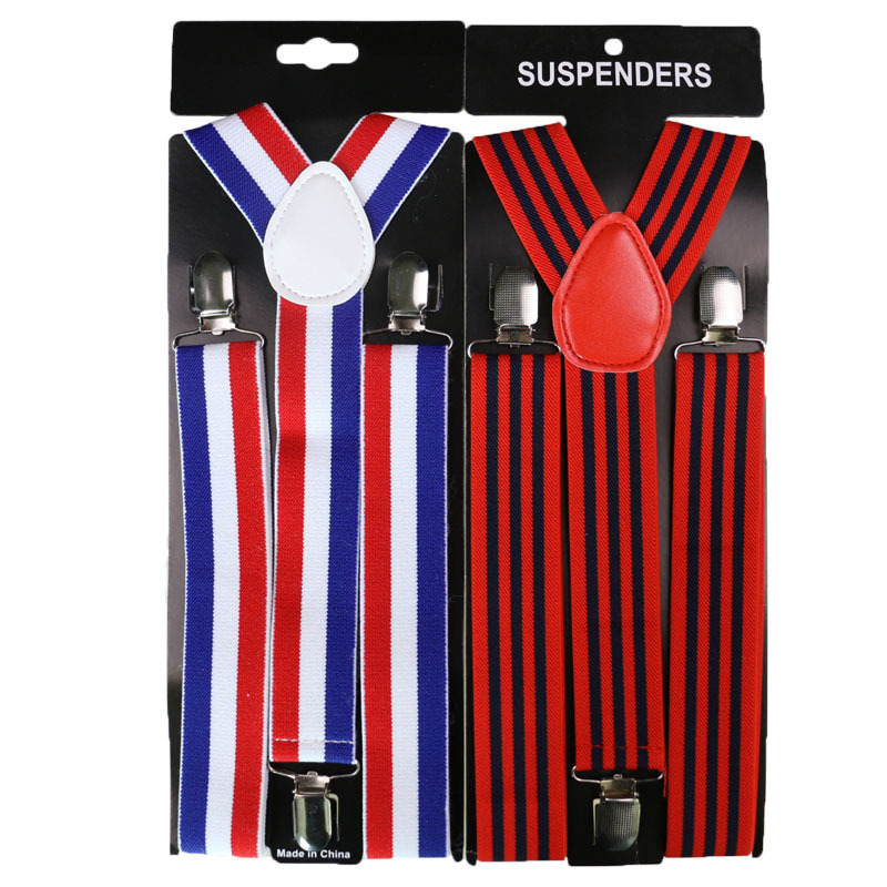 Winfox 3.5cm Wide High Quality Retro Elasticity Stripe Suspenders For Men Women 3 Clip Unisez Party Wedding Pants Shirt