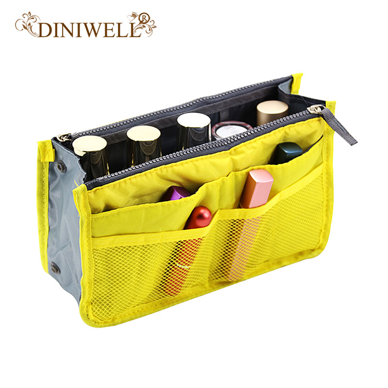 DINIWELL Portable Double Zip Storage Bag Insert Organizer Handbag Women Travel Bag in Organizer Bag For Cosmetics Ipad
