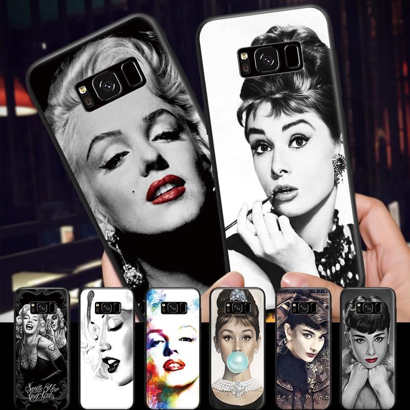 Elegant Marilyn Monroe Audrey Hepburn Pattern for Samsung Galaxy A3 A5 A8 J3 J5 J7 2015 2016 2017 2018 Black Hard Phone Case