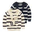 Cuello alto suéter de los niños 2017 nuevo bebé de la manera ropa de otoño/invierno de los niños de la raya del cuello alto de punto suéter niño niños cardigan