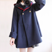 2017 winter new vintage wool cloak preppy style sailor navy blue blends coat outerwear women loose red solid color autumn cape(China)