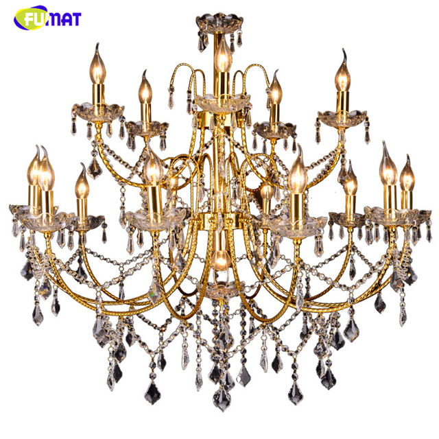FUMAT American K9 Crystal Pendant Lights Gold Metal Art Lightings Living Room Bed Room Lustre LED K9 Crystal Pendant Lamps