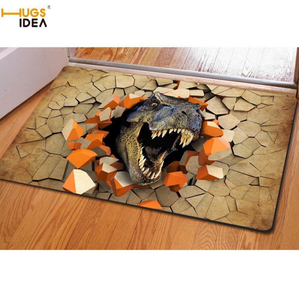HUGSIDEA Cool 3D Animal dinosaure imprimé Tapis pour salon Tapis Chambre Enfant antidérapant maison Tapis cuisine Chambre Tapis