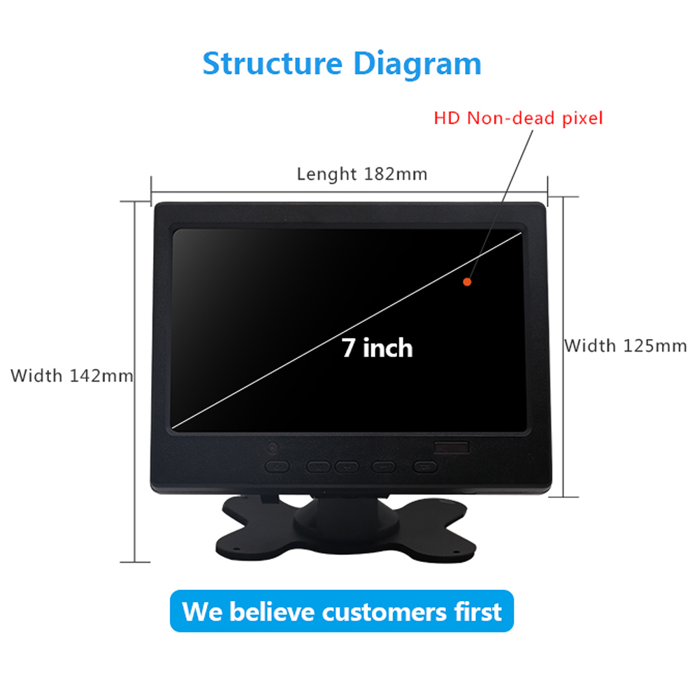 Image 4 - New 7 inch Portable Touch Screen Monitor 1024x600 Resolution HD Display TFT LCD CCTV Computer Monitor VGA HDMI AV Input-in LCD Monitors from Computer & Office
