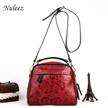 Nuleez genuine leather bag women comfortable sports style unique pattern fashion and vintage tote-bag soft cowhide high quality