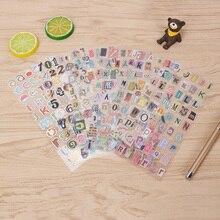 6pcs/lot Retro Diary English Alphanumeric Gilding sticker DIY Decorative Scrapbooking Stickers  Album Sticker Label gift