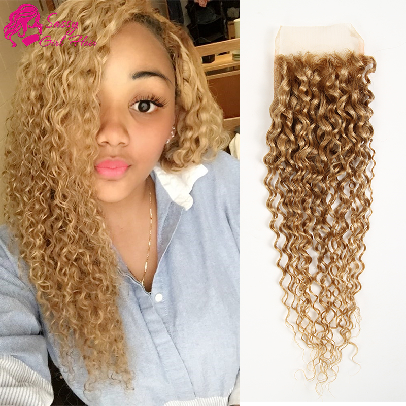 Peruvian Kinky font b Curly b font Closure Free Middle 3 Part Honey Blonde Closure Ali