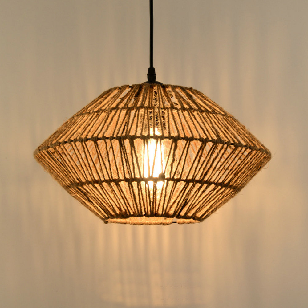 Wicker Loft Iron Rope Droplight Edison Industrial Vintage Pendant Light Fixtures For Dining Room Bar Hanging Lamp Home Lighting vintage industrial loft pendant lights fixture hemp rope retro e27 holder wicker pendant lighting for dining room diy lamp