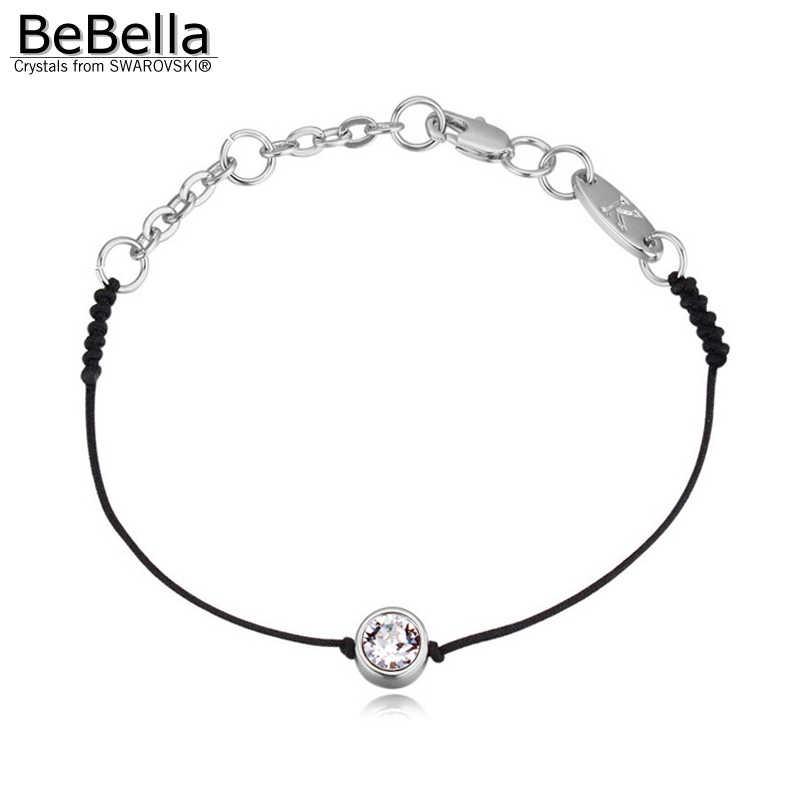 Bebella Dunne Zwarte Koord Discussie String Rope Lijn Armband Met Kristallen Uit Swarovski Goud Kleur Ketting Vrouwen Bruiloft Sieraden