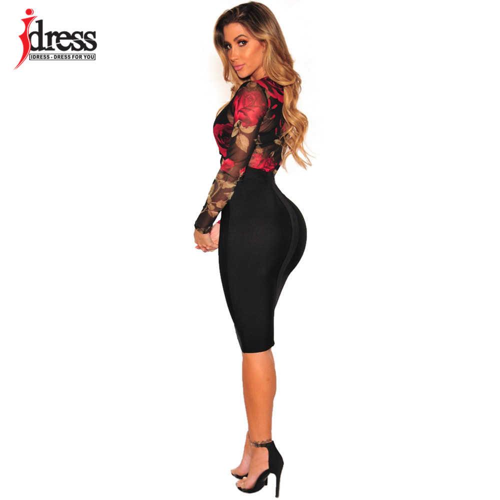 IDress 2018 новый дизайн, женский эластичный сетчатый боди с цветочным принтом, сексуальный прозрачный костюм для тела, трико, комбинезоны, Черный боди с длинным рукавом