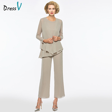 Dressv grey scoop neck sheath long sleeves mother of bride dress with jacket pants zipper up long mother evening gown custom cheap Mother of the Bride Dresses Knee-Length Full simple 480973 Chiffon Ruffles None Spring Autumn Summer Winter Wedding Ceremony wedding party dress godmother dress