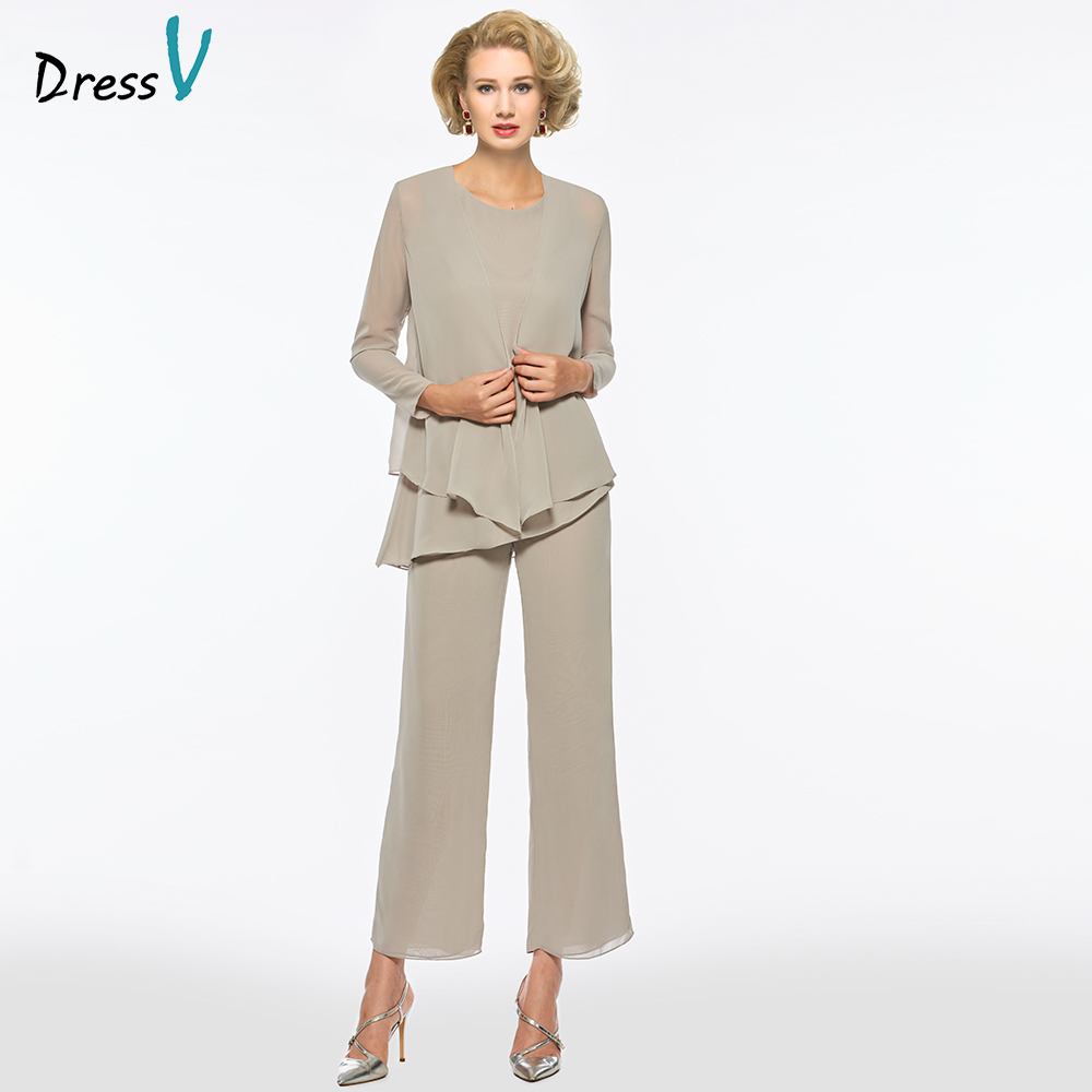Dressv Grey Scoop Neck Sheath Long Sleeves Mother Of Bride Dress With Jacket Pants Zipper Up Long Mother Evening Gown Custom