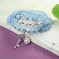 100% Natural Crystal Stone Multi-layers Love Bracelet Aquamarine Pearl Shell Key Beaded Bracelet For Women 2016 Free Shipping