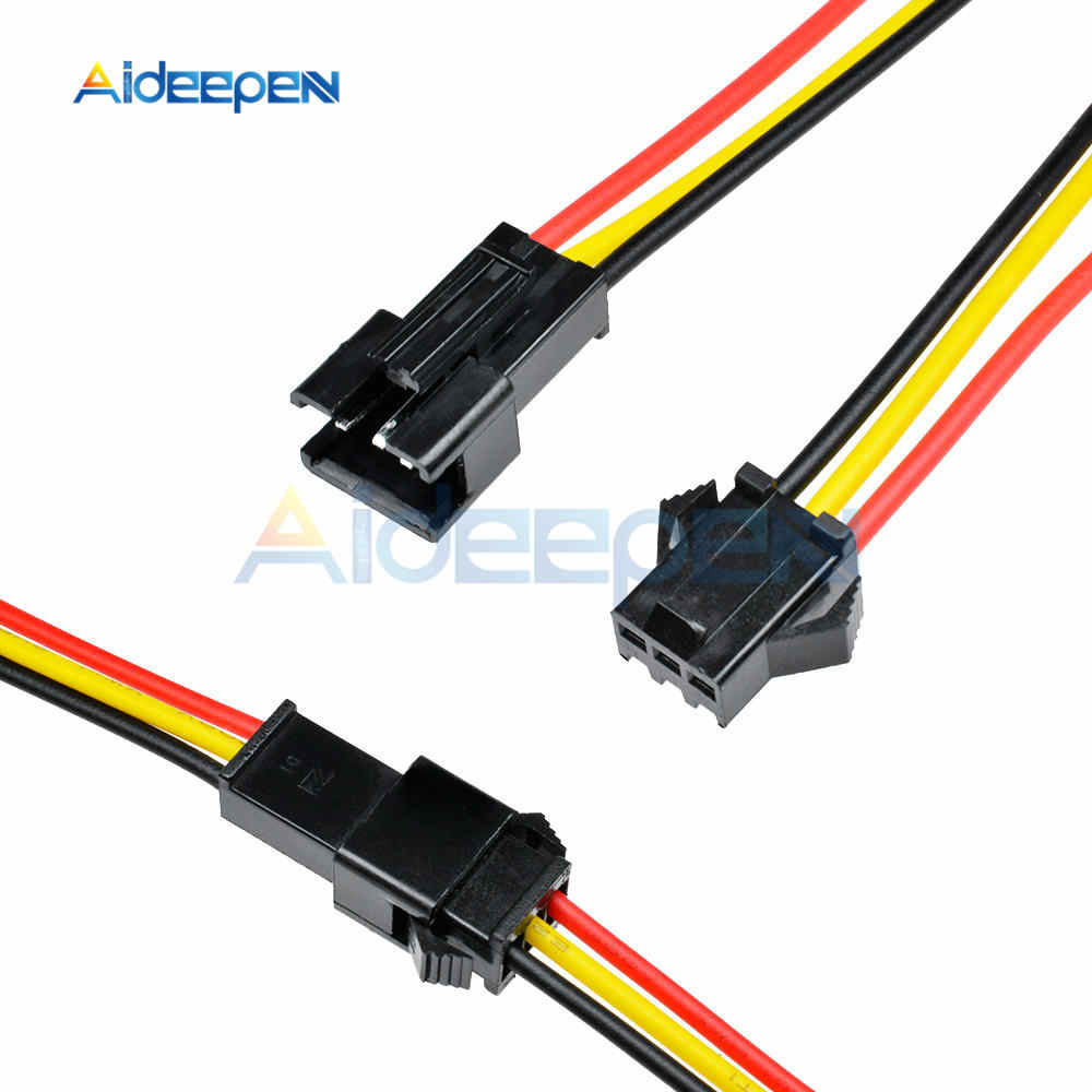 10 Pairs 10CM/15CM/30CM JST SM 3 Pin 3 Pins Connector Plug Male To Female Wire Connectors Cable 3mm for LED Strips Lamp Driver