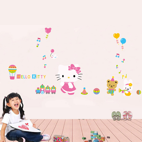 1 set 40*80 Inch Large Size Kids Wall Stickers Hello Kitty Cartoon Wallpaper For Kids Bedroom Wall Decoration