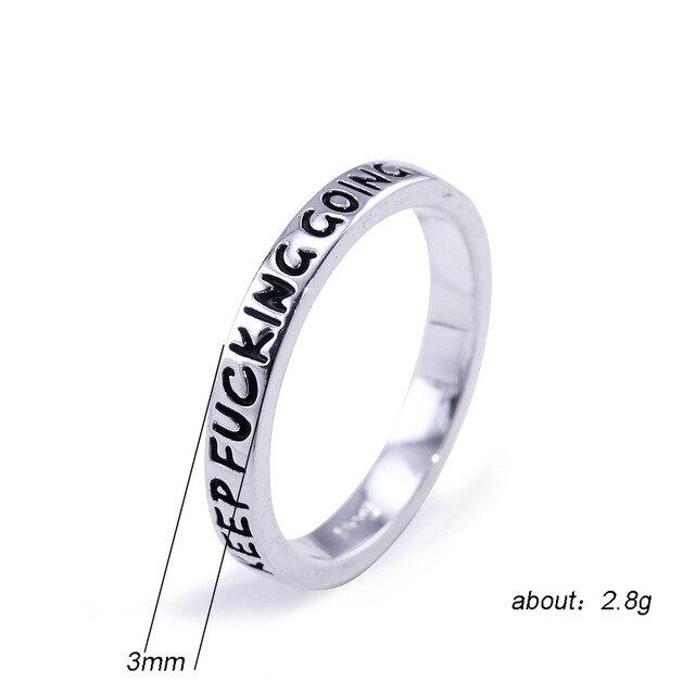 2019 moda 925 Sterling srebrzysty prosty Punk Rock Hip Hop srebrzysty pierścień dla kobiet mężczyzn grawerowane list Streetwear pierścionki biżuteria