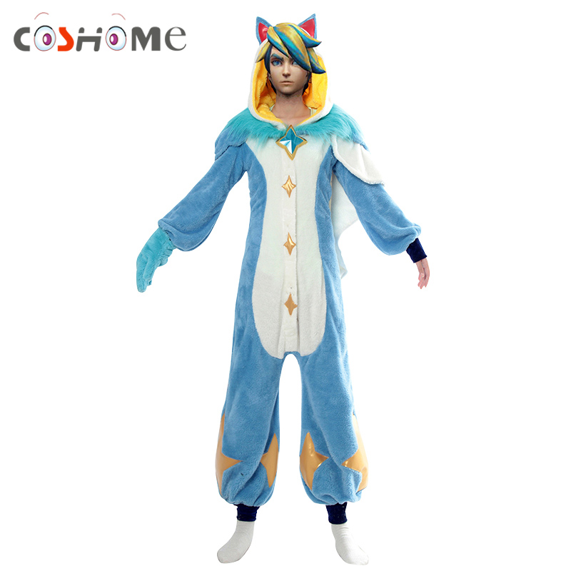 Coshome Pre-Order Pyjamas Star Guardian LOL Ezreal Cosplay Costumes Wig Men Women Pajamas for Halloween Party
