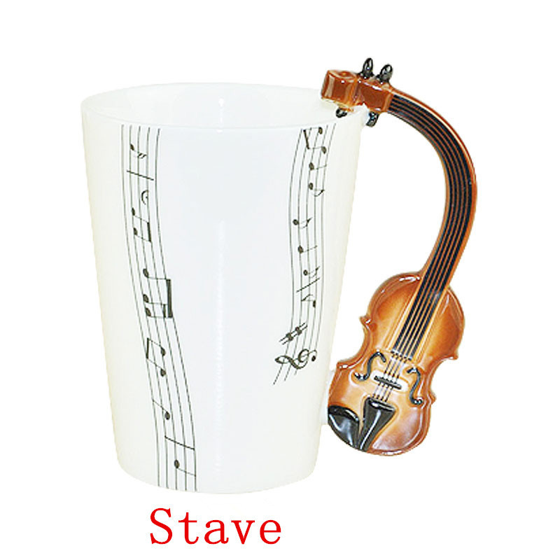 Free Shipping High Quality 60pcslot Music Cup Violin Enamel Cup Tea Cup Ceramic Cup Great Gift