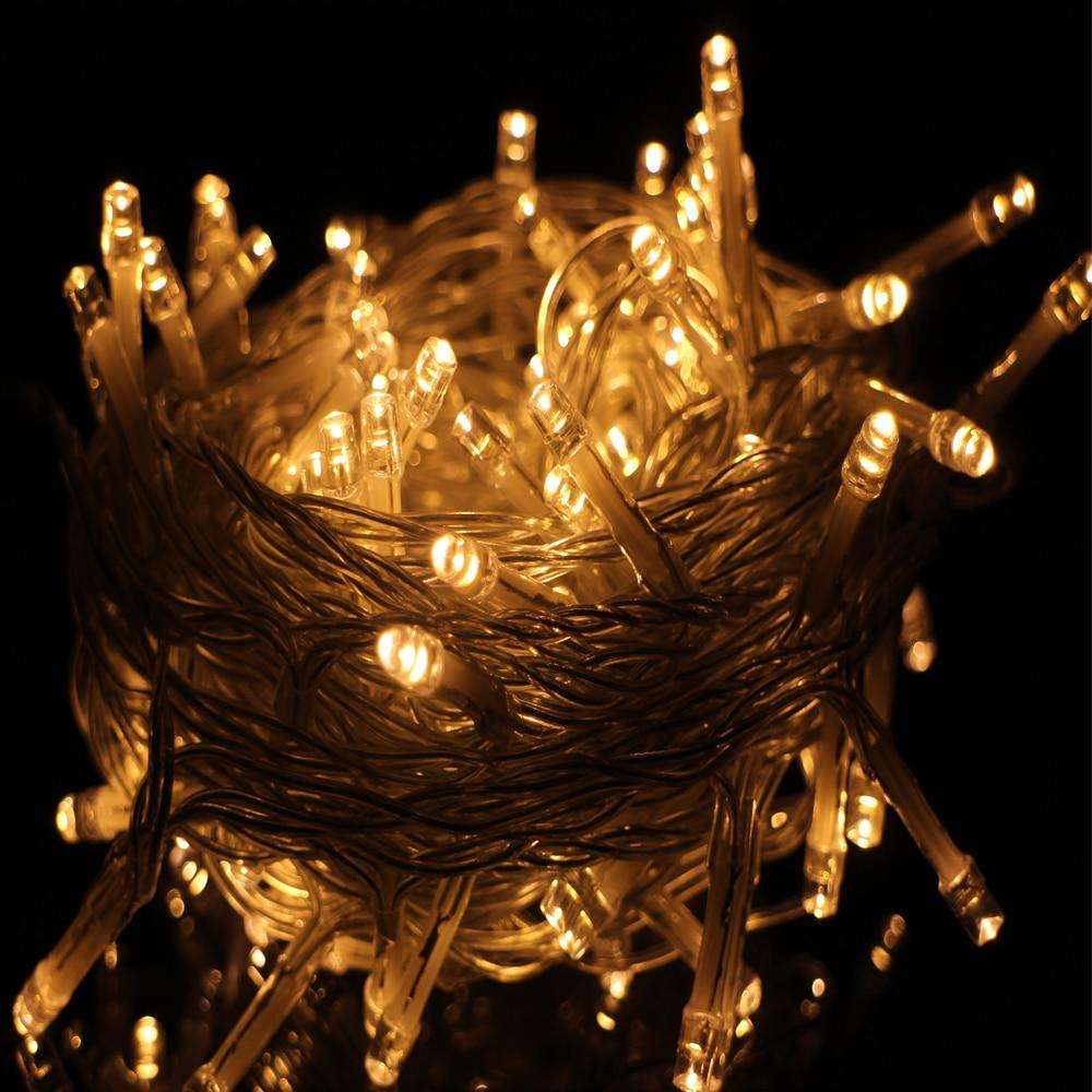 Corded 10M 100LED luces de cadena de vacaciones a prueba de agua para la decoración del hogar, boda cumpleaños fiesta de Navidad luces de cuerda de hadas