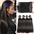 Mink Brazilian Straight Hair Lace frontal Closure With Bundles 8A Brazilian Virgin Straight Human Hair Frontal with Bundles
