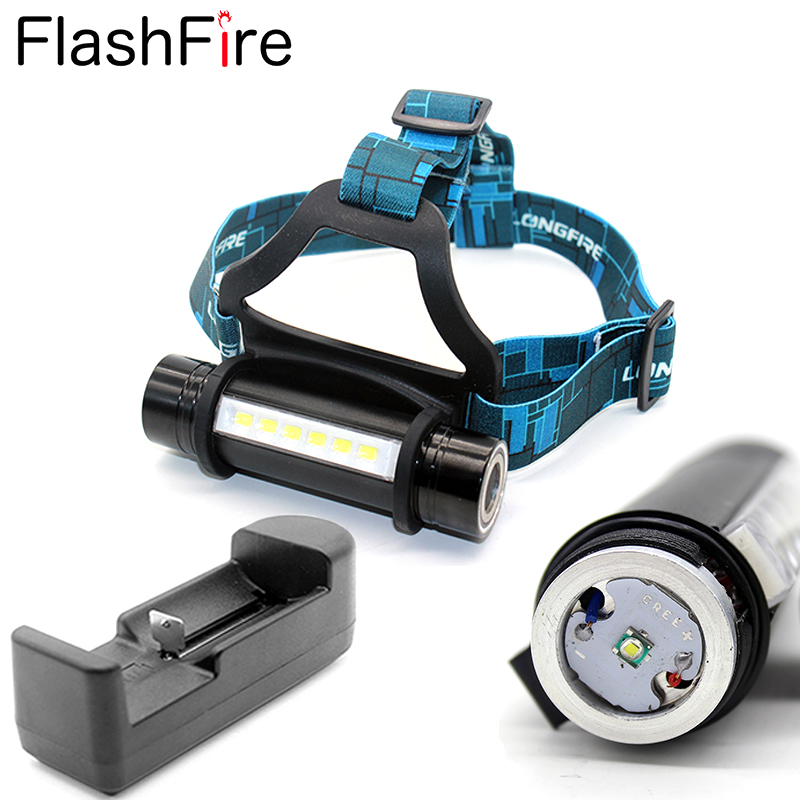 CREE headlamp 6 LED + CREE Q5 1600Lm portable Mini camping head band lamp led flashlight head lamp light + Charger for 18650