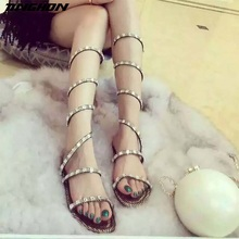 Купить с кэшбэком TINGHON women sandals Square Crystal Around Women Gladiator Sandal women Boots 2018 New Arrive Snake Flat Women Summer Shoes