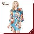 FR0005 Floral Robes De Seda De Cetim Mulheres Kimono Robe de Casamento Nupcial Da Dama de Honra Lady Spa Robe Noite Vestido Frete Grátis