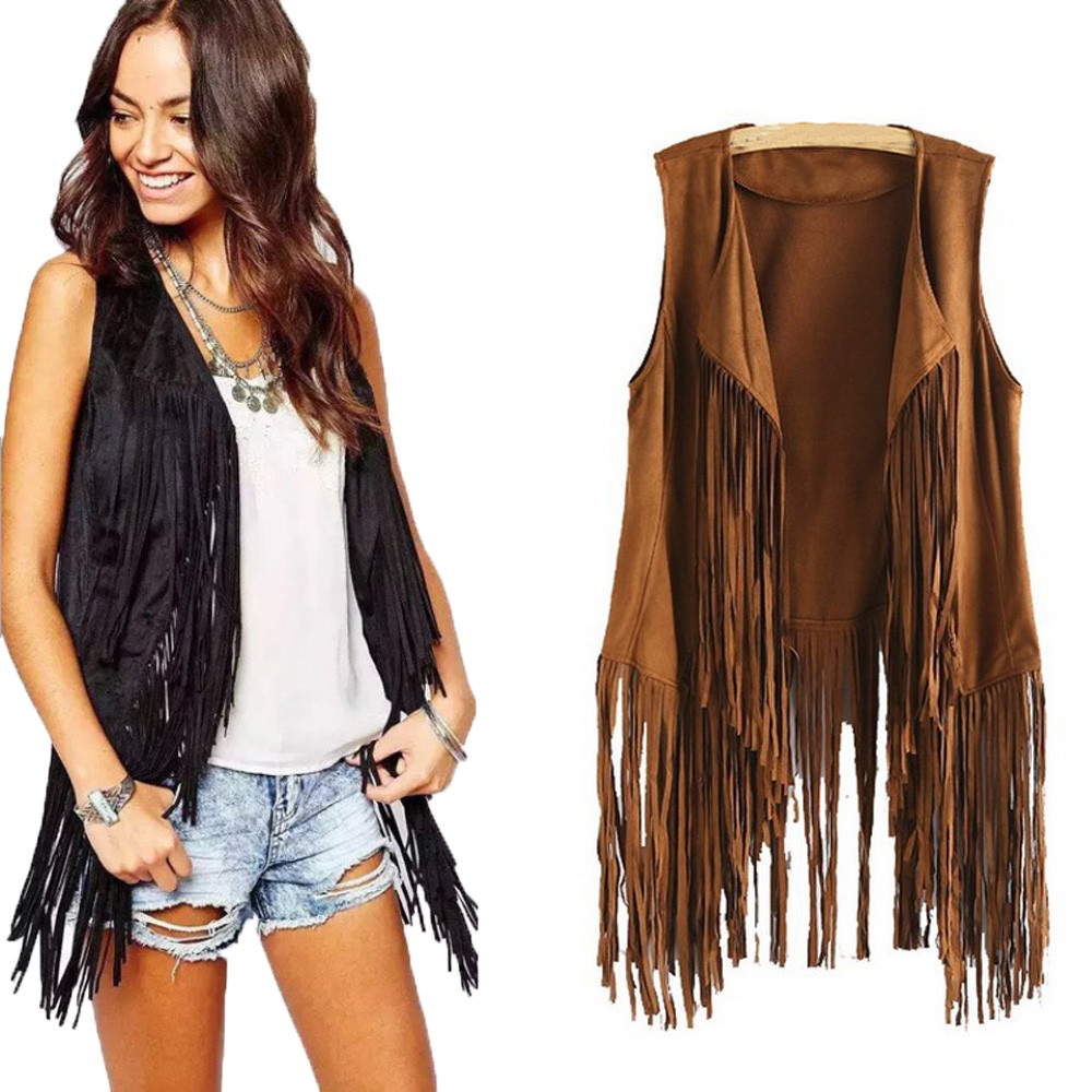 New Cool Women Vest Coat Ethnic Sleeveless With Tassels Fringed Vests Cardigan Women's Clothing Open Stitch Chaleco Mujer