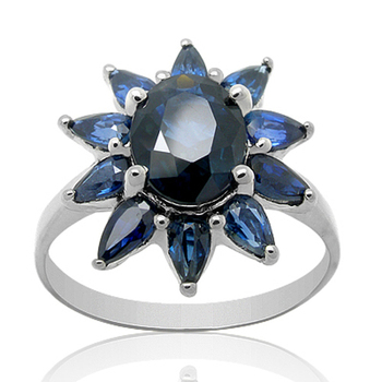 Qi Xuan_Fashion Jewelry_Dark Blue Stone Flower Rings_Fashion Ring_S925 Solid Sliver Fashion Rings_Manufacturer Directly Sales