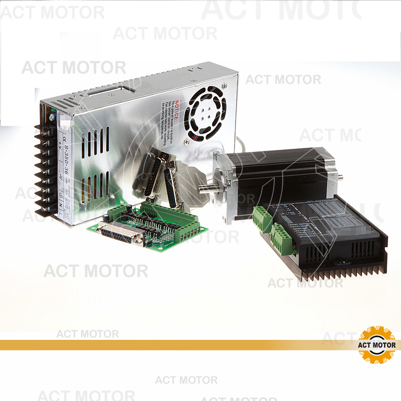 ACT Motor 1Axis Nema23 Stepper Motor Dual Shaft 23HS2430B 425oz-in 3A 4Leads Bipolar+Driver DM542 128Micro US UK DE FR IT Free