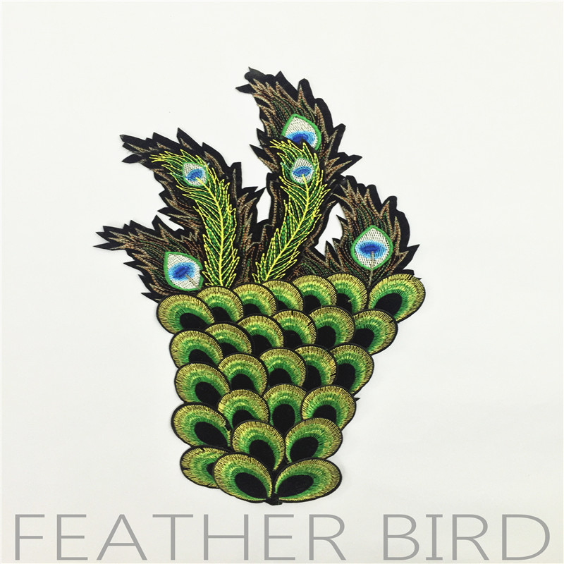Pure Manual Sewing Embroidery Baqi Peacock Feather Wings Embroidery Garment Accessories Parent-child Cloth Paste