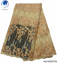 BEAUTIFICAL african fabrics lace tulle laces fabric 2019 high quality latest with stone ML4N697