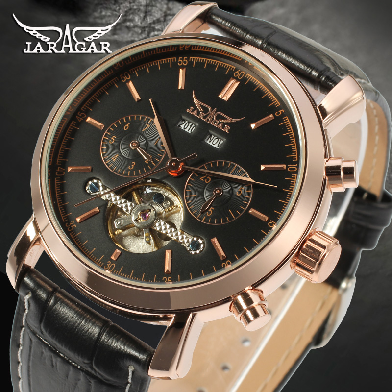 2018 New Watches Luxury Brand Men Classic Tourbillon Gold Black Genuine Leather Date Men's Wrist Automatic Mechanical Watch tevise fashion auto date automatic self wind watches stainless steel luxury gold black watch men mechanical t629a with tool